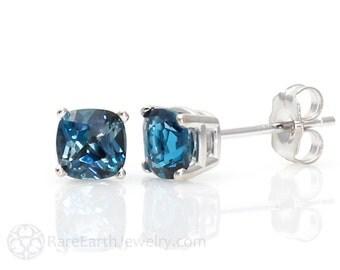 14K London Blue Topaz Earrings 5mm 6mm or 8mm Studs Cushion Stud Earrings December Birthstone 14K White or Yellow or Rose Gold
