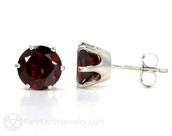 14K Garnet Earrings Red Mozambique Garnet Stud Earrings Post Earrings January Birthstone