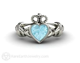 Claddagh Ring Irish Engagement Ring Promise Ring Aquamarine 14K or 18K Gold March Birthstone