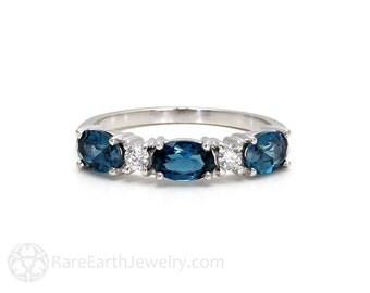 London Blue Topaz Ring East West Anniversary Band Diamond Stacking Ring 14K or 18K Gold December Birthstone Gemstone Ring