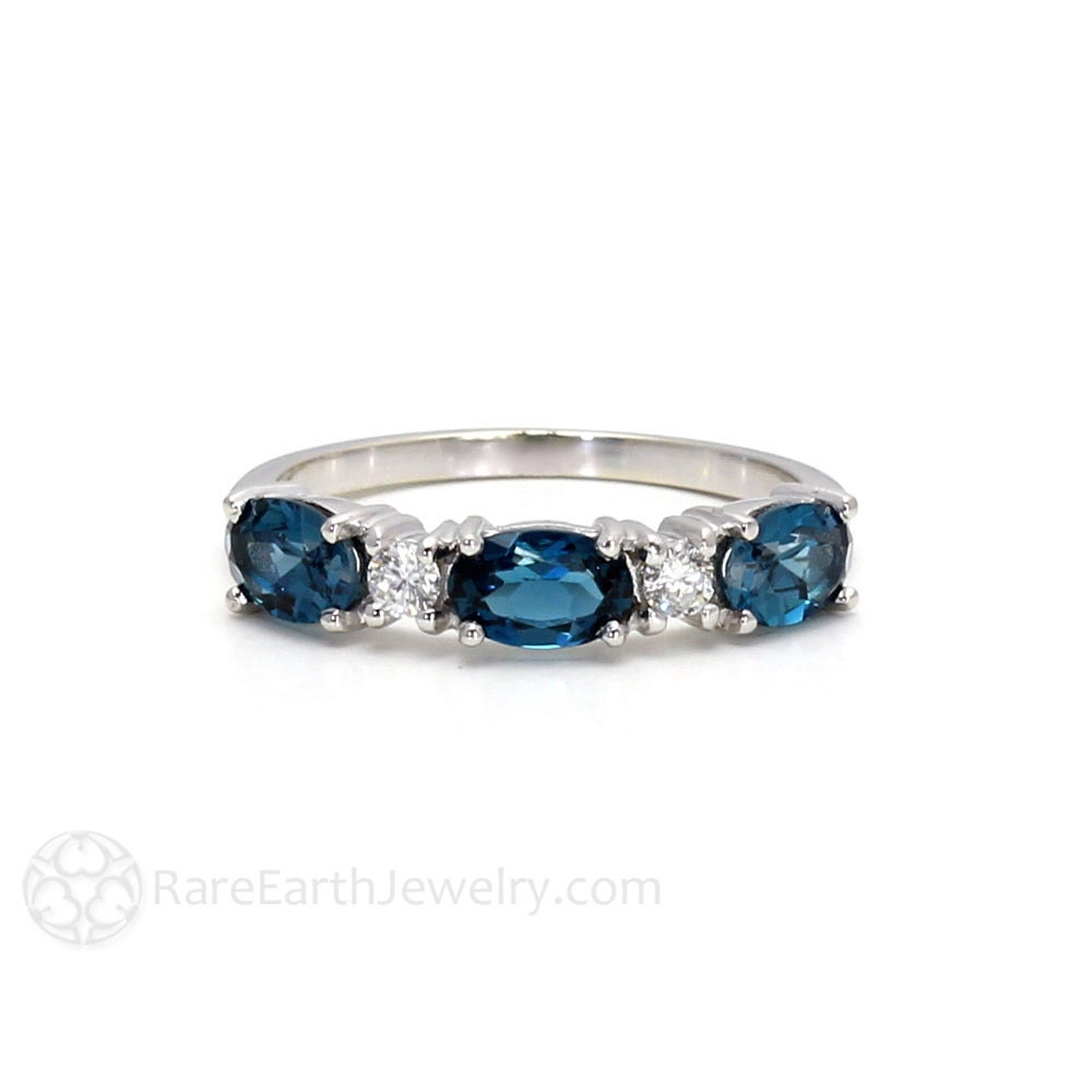 East West Bands: London Blue Topaz Ring East West Anniversary Band Diamond