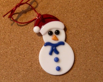Fused Glass Snowman Ornament - Fused Glass Snowman Suncatcher - Fused Glass Christmas Ornaments - Fused Glass Holiday Ornament