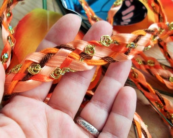 Wedding Handfasting Cord - Monarch Butterfly Orange and Brown with Gold Rosettes