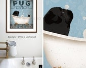 black Pug dog bath soap Company vintage style artwork by Stephen Fowler Giclee Signed Print
