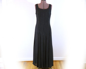 Vintage  90s Long Black Dress, Designer, Jessica Howard, Simple but Elegant, Pleated Skirt, Fully Lined Chiffon, Polka Dot, Great Boho Dress