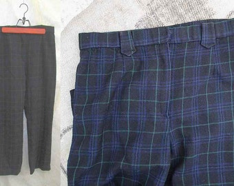 60s Vintage Tartan Plaid pants Navy Wool plaid Capris Front zipper Cowboy belt loops tapered wool pants M