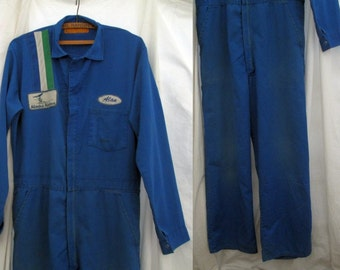 Vintage Alaska Airlines Coveralls Vintage 70s Mechanic coveralls Union Made Workwear blue coveralls M 42 Long
