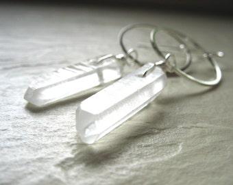 Quartz Earrings, Quartz Crystal Point Silver Hoop Earrings, Handmade Artisan Gemstone Dangle Drop Earrings, Gemstone Jewelry