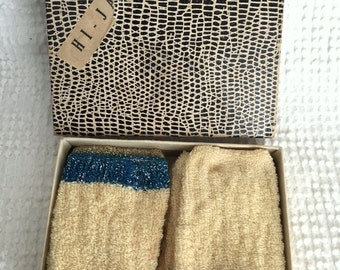 Vintage Hi-Jacs Boxed Set - Mid Century Drink Cosies - Set of 6 - Ivory with Metallic Color Accents - Great for a Bar