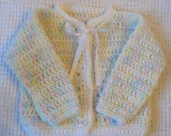 Vintage Newborn, Premie Baby or Doll Layette Hand Crochet Sweater in Sweet Pastel Colors