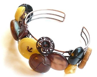 Christmas in July Sale Brown and Yellow Upcycled Vintage Button Bangle Bracelet