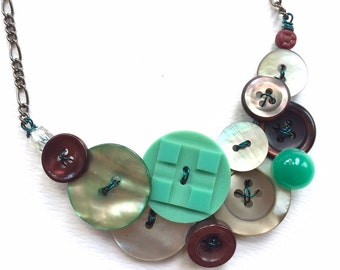 Statement Button Statement Necklace - Mother of Pearl with aqua, white, burgundy