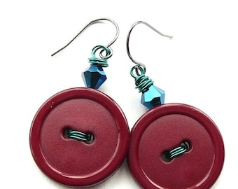 Gift Sale Jewel Tone Burgundy Vintage Button Dangle Earrings with blue beads