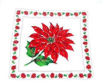 "Vintage Christmas Handkerchief, Large Poinsettia Center, 12"" Square, Cotton, Red Green White Hankie, Vintage, Machine Stiched Hem"