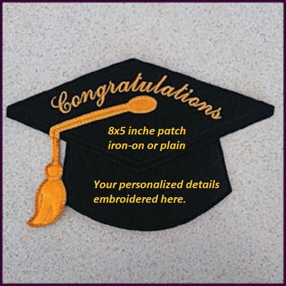 Graduation Patch Iron On Machine Embroidered Personalized