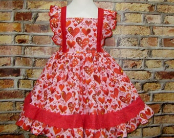 Red Heart Flutter Sleeve Ruffle Dress, Pink and Red Girl Dress,Valentine Girl Dress, Little Girl Dress,  Girls Dresses, Girl Pink Dress