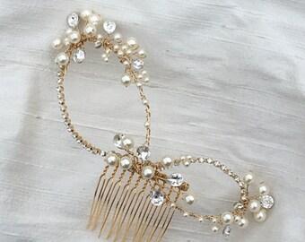 Bridal Hair Comb Swarovski Crystal Rhinestone Pearl