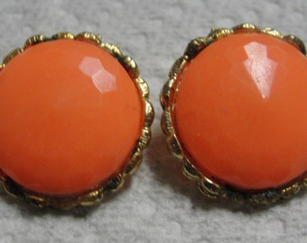 Round Faceted Orange Gold Tone Clip Earrings
