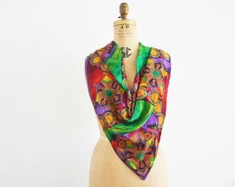 Vintage Oscar de la Renta silk scarf large 34 by 34 gift for her