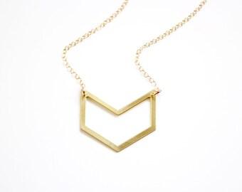 Minimalist Chevron Cutout Necklace - Gold or Silver