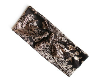 Tie Up Headscarf // Knotted Headband // Black Gold Foil Floral