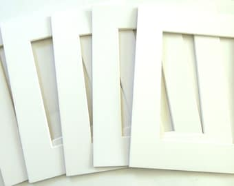 Blank White Picture Frame Mats - Set of 5