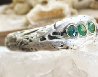 Central Park West hand sculpted fairy wood ring with three Columbian Muzo mine emeralds tcw 0.6 ct size 9