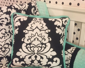 Custom Black & White Damask with Aqua/Teal Accent Boutique Accent Pillow