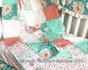 Designer Coral Blush Mint/Turquoise & Gold Metallic Mod Floral and Arrows Shabby Chic Baby Toddler Rag Quilt Crib Bedding MADE TO ORDER