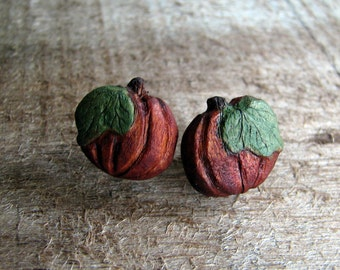 Pumpkin Fine Art Maple Miniature Hand Carved Stud Earrings by Tanja Sova