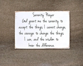 Serenity Prayer Sign Rustic Cottage Wooden Home Decor Wall Hanging Quote Inspirational Office