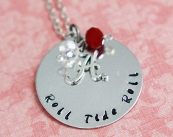 Hand Stamped Roll Tide Roll Alabama Crimson Tide Necklace