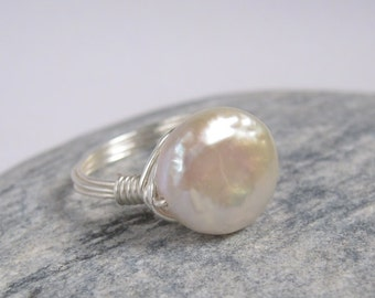 White Coin Pearl Ring Sterling Silver Wire Wrapped Jewelry Luster Freshwater Pearl