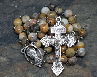 Gemstone Rosary of Crazy Lace Agate with a Pardon Crucifix, Agate Rosary, 5 Decade Rosary, Catholic Rosary