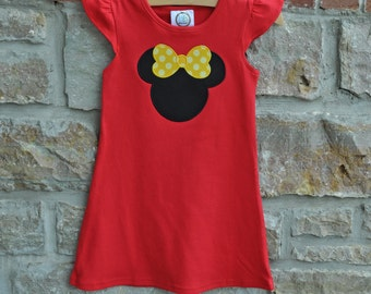 MOUSE IS BACK- Custom Monogram Personalized Flutter Sleeve Red Dress - 18m-8 years -Monogram Dress - Personalized Dress - Julianne Originals