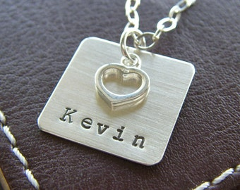 """Personalized Square Charm Initial Necklace – Hand Stamped Sterling Silver – 3/4"""" Square Pendant with Optional Open Heart Charm"""