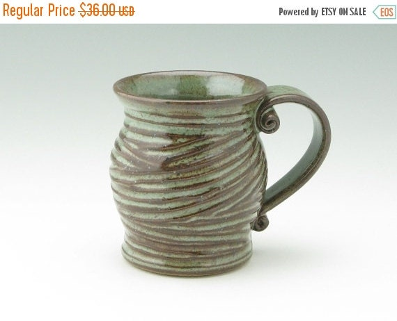 Handmade Pottery Coffee Mug Pot Belly 16 Oz Stoneware