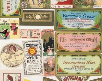 97 1930s plus Medicine cabinet Labels Drugstore,Pharmacy ,Poison ,BEAUTY,COSMETICS,French Perfume,Witch Hazel etc
