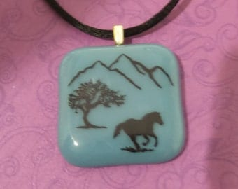 Horse Pendant, Mountain Pendant, Fused Glass Necklace, Fused Glass Jewelry - Galloping Thru the Mountains - -5