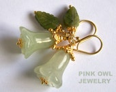 RARE Jade Bell Flower earrings Gold Vermeil, carved green nephrite canadian jade, milky jadeite lily leaf, floral nature inspired unique