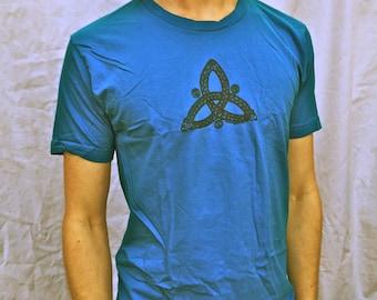 SALE Celtic Knot Tshirt Triskele Triquetra Blue Unisex Cotton Tshirt Sm M L XL