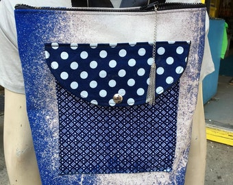 Bleach Dyed Blue Canvas Backpack, One of a  kind Knapsack With Patchwork Pocket