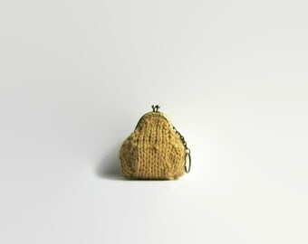 Ochre Coin Purse, Small Coin Purse, Change Purse, Hand Knit Coin Purse, Knitted Pouch, Coin Purse Keychain, Kiss Lock Coin Purse