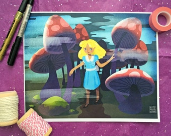 Alice Emerges From the Mushroom Forest - Print - 8 x 11