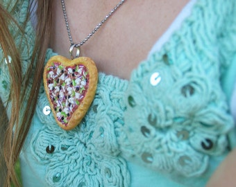 Pizza heart Necklace - Pizza Necklace - Heart necklace - Pizza Jewelry - Miniature food - Food Necklace - Food Jewelry - Pizza heart - Love