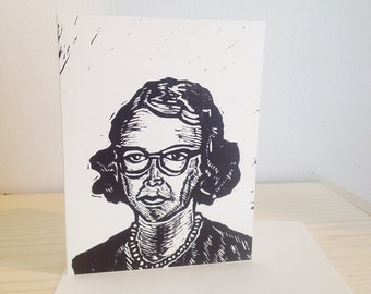 Flannery O'Connor, Blank Greeting Card, Linocut Author Greeting Card, Hand Printed, Letter Press Greeting Card