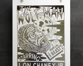 Art, Wolf Man  Lon Chaney Woodcut Poster Print, Woodcut Print, Classic Horror Movie The Wolf Man Poster, Vintage Style Classic Movie Poster
