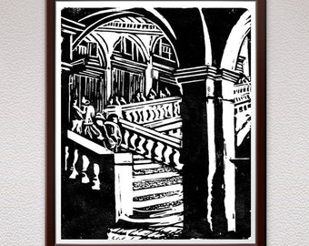 Rialto Bridge, Venice, Linocut Print, Relief Art Print,  Lino Cut Print, Block Print, Birthday, Gift, For Him, For Her, Mom, Girlfriend,