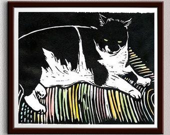 Cat, Rug, Linocut Print, Block Print, Relief Art Print, Lino Cut Print, Linoleum Print, Wall Art, Christmas, Gift, For Him, For Her, Kitten