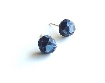 Blue, hand-carved, faceted, for her, post earrings